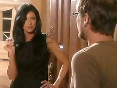 Guy with glasses gets seduced by hot brunette milf