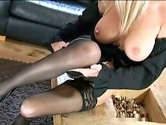 Saffy British  blond teasing solo stocking heel show