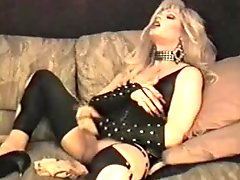 Solo tranny smoking and stroking