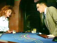 Curly redhead hottie Kai Nobel fucks on the blackjack table
