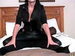 Black leather pants make a lap dance so sexy