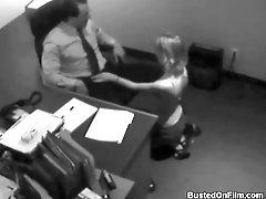 Secretary gets on her knees and blows boss