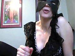 Dirty talking handjob blonde in a mask