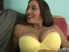 Persia Monir fucks a dude and lets him cum on her hairy vag