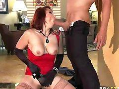 Milf in gloves Nicki Hunter gets her ass filled with big cock