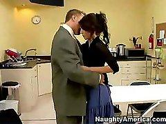 Jenni Lee gets on her knees to sucks and fuck this guy at work