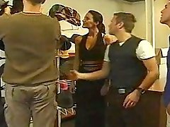 Isabella - hungarian hottest brunette with 4 guys in factory
