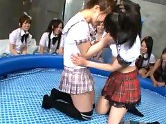 Japanese Schoolgirls In Kinky and Wet Sex Game