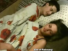Two girls and a guy babe having passionate morning sex