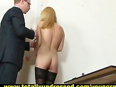 Humiliating nude job interview for 19 y.o. Svetlana
