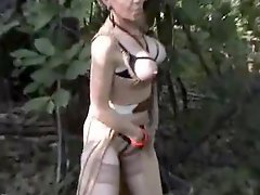 French mature gangbanged in the woods